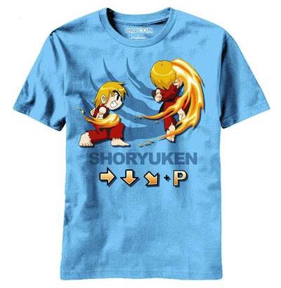 Street Fighter Ken Shoryuken Blue T-Shirt