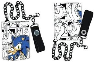Buy Merchandise Sonic The Hedgehog Black And White Tri Fold Chain Wallet Estarland Com