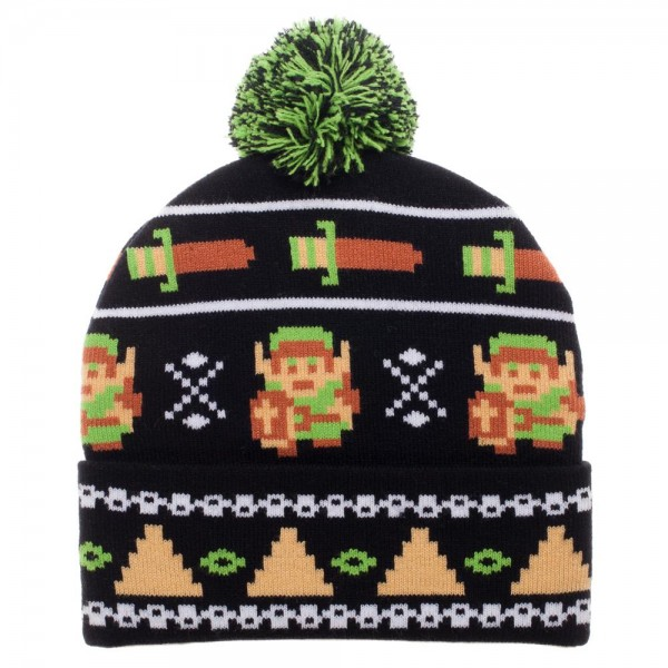 Legend of Zelda 8 Bit Cuff Pom Beanie