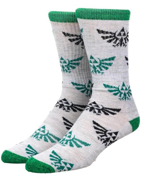 Legend of Zelda Hylian Crest Green & Black All Over Print Crew Socks