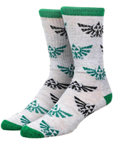 Legend of Zelda Hylian Crest Green & Black All Over Print Crew Socks