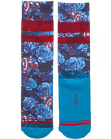 Marvel Captain America Floral Jrs. Sublimated Crew Socks
