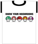 Nintendo: Know Your Mushrooms Ringer White T-Shirt LG