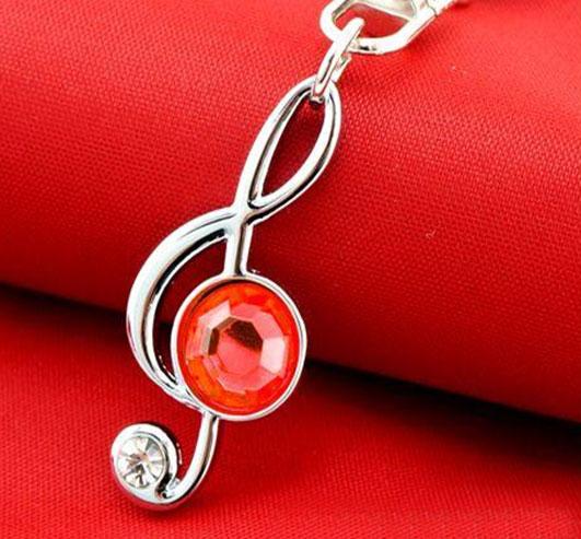 Hatsune Miku Red Gem Treble Clef Metal Keychain