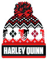 DC Comcis Harley Quinn Intarsia Knit Cuff Pom Beanie