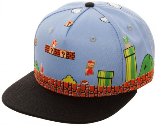 Super Mario 8-bit All Over Scene Snapback Hat