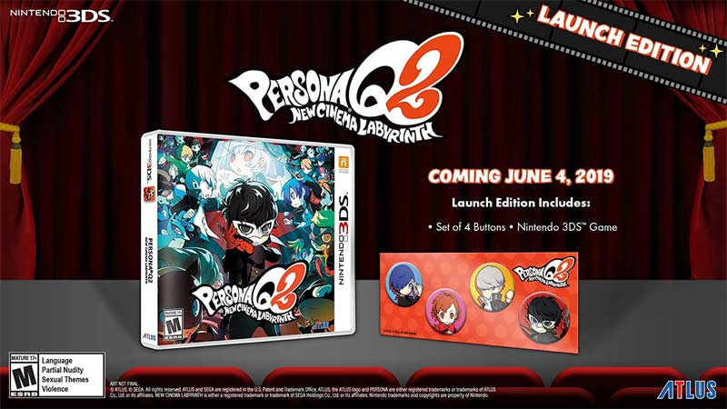 3DS Persona Q2 New Cinema Labyrinth Launch Edition bonus items