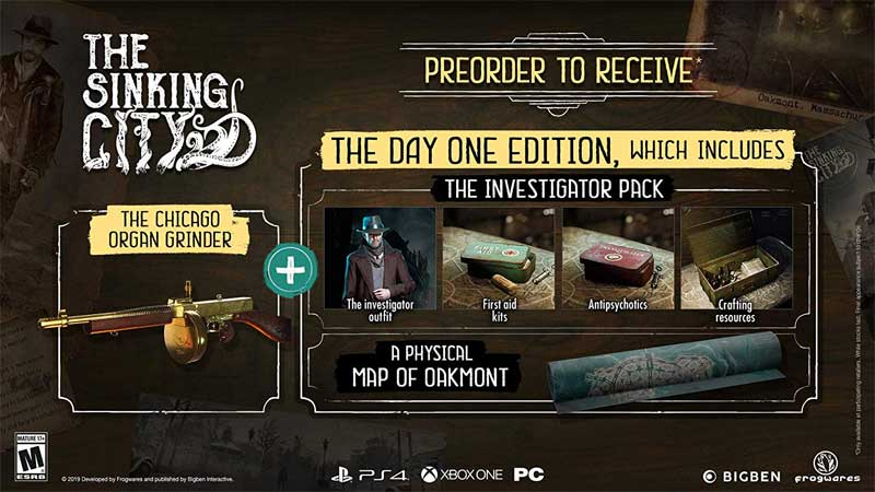 PS4 The Sinking City pre order and day one bonuses