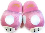 Super Mario Bros Pink Mushroom Slippers