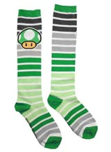 Nintendo Green Mushroom Striped Knee Socks
