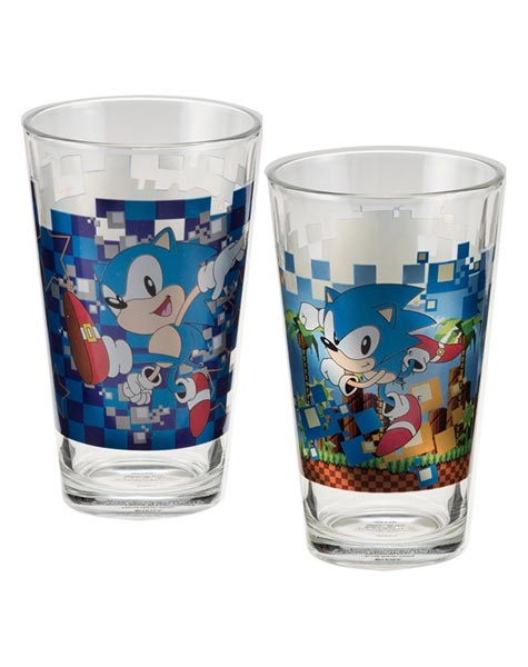 Sonic the Hedgehog Two 16 oz Laser Decal Glass Set