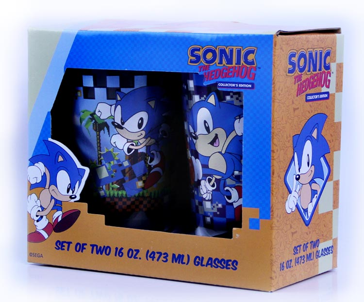 Sonic the Hedgehog Two 16 oz Laser Decal Glass Set in Gift Box
