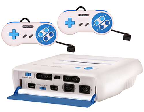 Super Retro Trio NES/SNES/Genesis 3-in-1 Console White/Blue