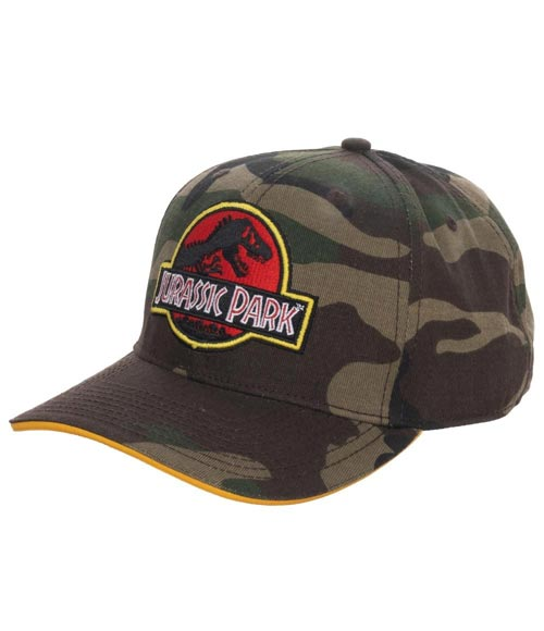 Jurassic Park Camo Pre-Curved Snapback Hat