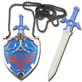 Legend of Zelda Hylian Shield and Master Sword Necklace