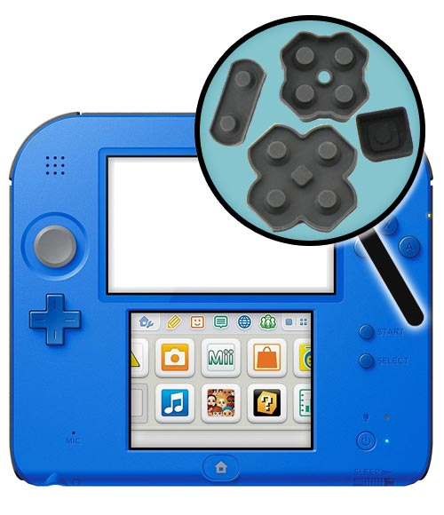 Nintendo 2DS Repairs: Rubber Button Pad Replacement Service