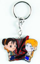 Street Fighter Blue Chun Li vs Vega Enamel Keychain
