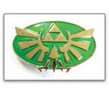 Zelda Twilight Princess Triforce Logo Belt Buckle (Gold/Green)