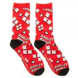 Harley Quinn Heart Logo Tossed Print Jrs Crew Socks