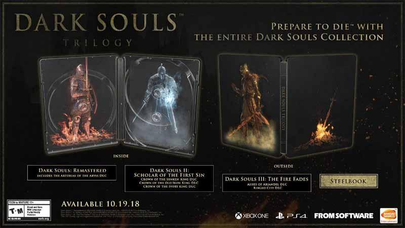 Dark Souls Trilogy steelbook inside and outside views