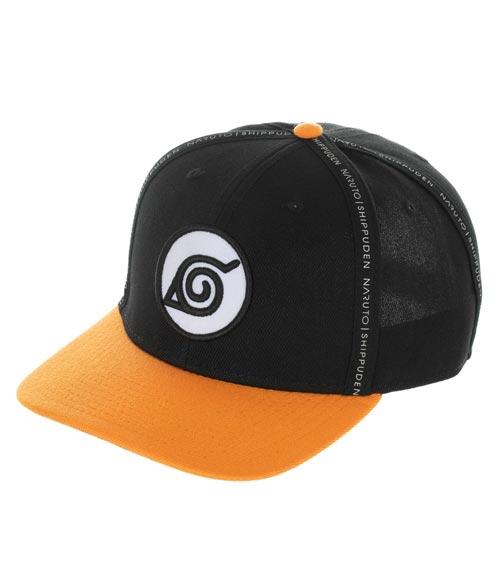Naruto Shippuden Black & Orange Taping Pre-Curved Snapback Hat