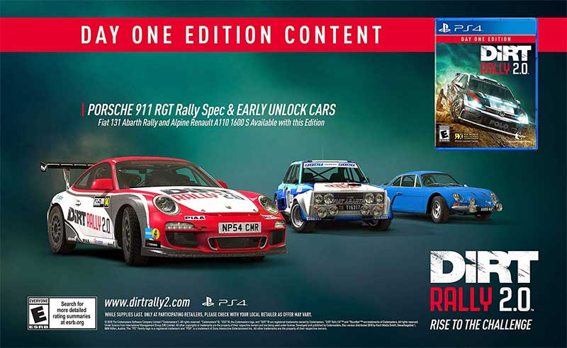 PS4 Dirt Rally 2.0 Day One content