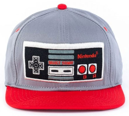 Nintendo Controller Gray and Red Snapback Cap