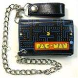 Pac-Man Chase Map Tri-Fold Chain Wallet