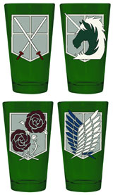 Attack On Titan Corps Symbols 4 Pack Pint Glass Set