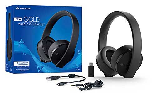 PS4 Gold Wireless Headset New Ver 2018 box and contents
