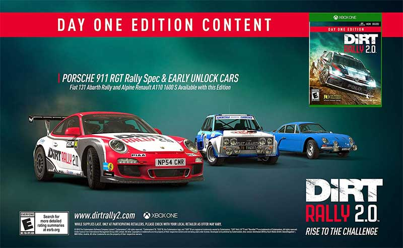 XB1 Dirt Rally 2.0 Day One content
