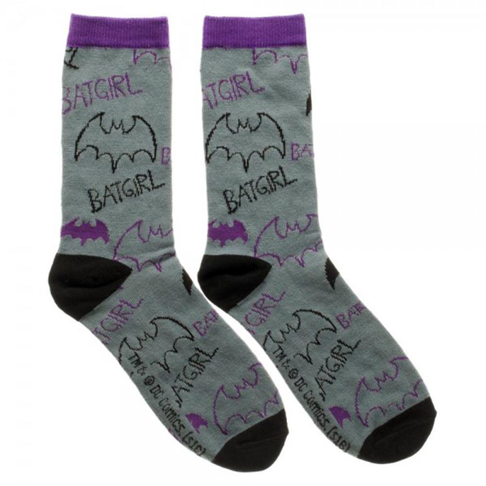 Batgirl Logo Tossed Print Jrs Crew Socks