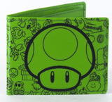Nintendo Mushroom Bi-Fold Fat Free Green Wallet