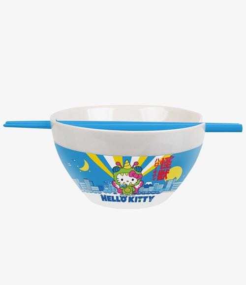 Hello Kitty Kaiju Ceramic Ramen Bowl & Chopsticks