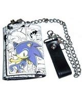 Sonic the Hedgehog Black and White Tri-fold Chain Wallet