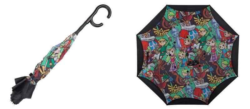 Zelda Reverse Folding Umbrella folded and under images