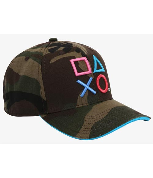 PlayStation Embroidered Icons Camo Pre-Curved Snapback Hat