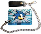 Sonic the Hedgehog Checkered Blue Tri-fold Chain Wallet