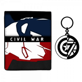 Marvel Captain America Iron Man Wallet and Keychain Gift Set