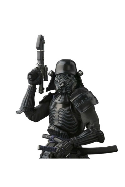 Star Wars Movie Realization Onmitsu Shadowtrooper Action Figure with a rifle pointing up