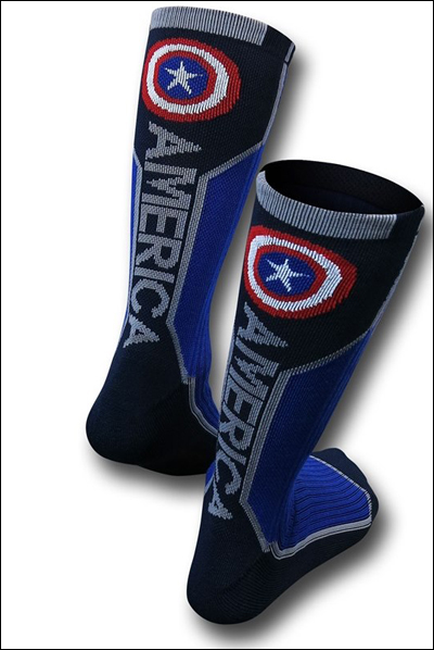 Marvel Captain America Text Active Crew Sock