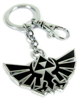 Legend of Zelda: Silver/Black Triforce Logo Keychain