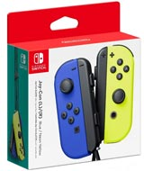 Nintendo Switch Left and Right Blue and Neon Yellow Joy-Con Controllers