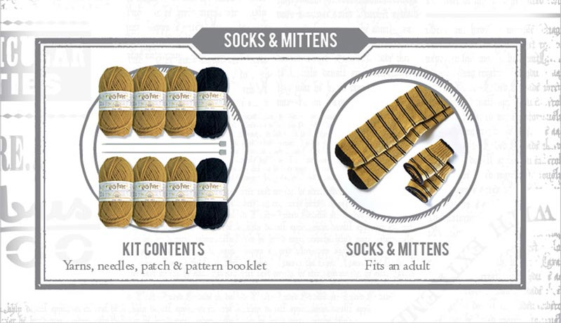 Harry Potter Hufflepuff Fingerless Mittens and Socks Knit Kit extra img