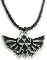Legend of Zelda: Twlight Princess Silver/Black Triforce Logo Necklace