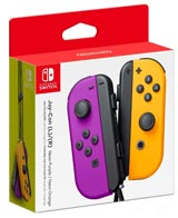 Nintendo Switch Left and Right Neon Purple and Neon Orange Joy-Con Controllers