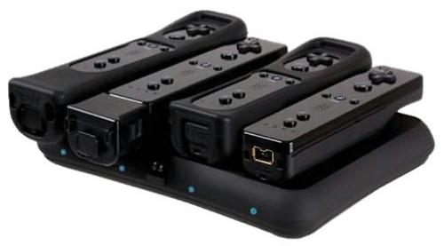 Nintendo Wii Power Base Quad Induction Charging Dock Black