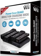 Nintendo Wii Power Base Quad Induction Charging Dock Black
