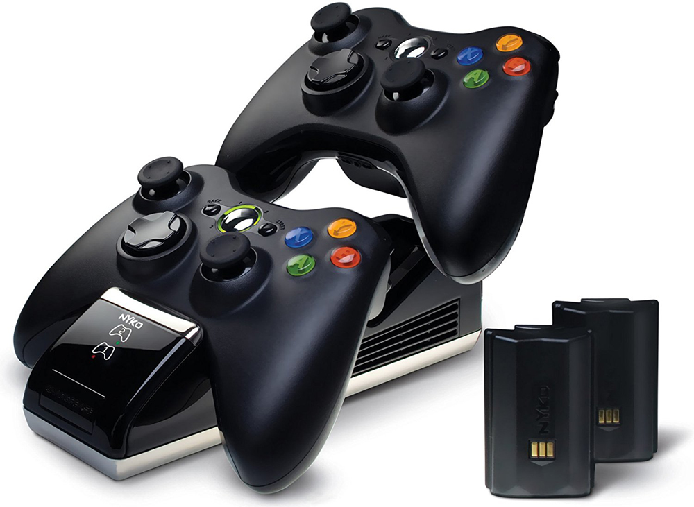 Xbox 360 Nyko Charge Base Plus w/ 2 Rechargeable Batteries (Black)