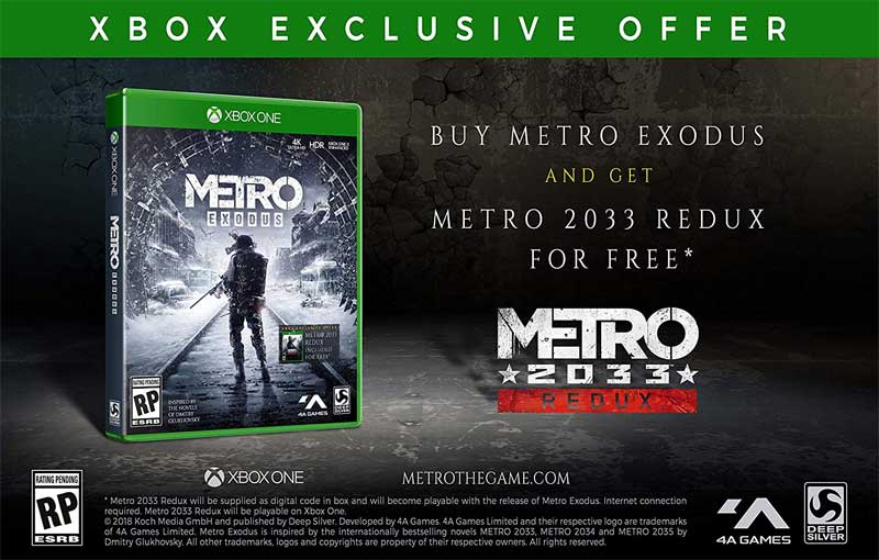 Metro Exodus Day One Edition Xbox One exclusive